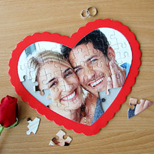 Personalizado Heart Shape  Foto  rompecabezas ( rojo  Frame)