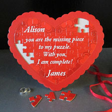 L O V E Personalizado Heart Shape Puzzle