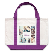 Bolsa de mano grande personalizada con colage blanco de seis color Púrpura