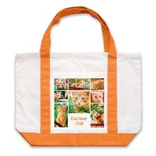 Bolsa de mano grande personalizada con colaje blanco de ocho color naranjado