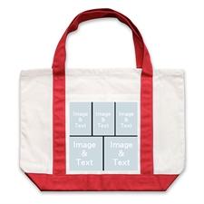 Bolsa de mano personalizada grande con colaje negro de cinco color rojo