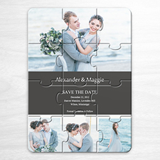 Personalice el rompecabezas como invitación con Guarde la fecha, con colage de 4 fotos de color gris