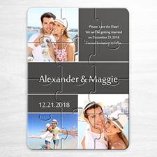 Personalice Mi rompecabezas de guarde la fecha, colage de 3 fotos de color gris como invitación