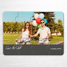 Personalice su rompecabezas de  Guarde la fecha. Rompecabezas como invitaciones de amor únicas de color gris
