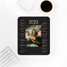 Custom Print Portrait Calendar 2019, Black Mouse Pad