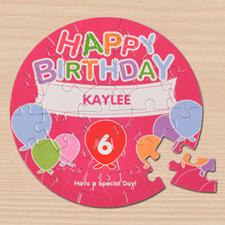 Birthday Balloons Pink Round 7 1/4