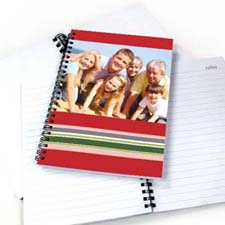 Create Your Own Colorful Stripes Notebook, Red