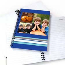 Create Your Own Three Collages Colorful Stripes Notebook, Blue