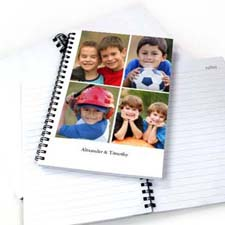Create Your Own White Four Collage One Title Notebook