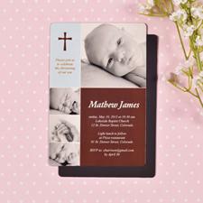 Imanes personalizados de 10.16 cm x 15.24 cm de gran moda para el bautismo de bebés.