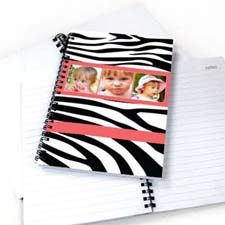 Create Your Own Zebra Pattern Three Collage Notebook, Hot Pink