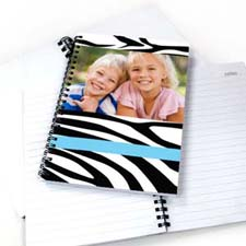 Create Your Own Zebra Pattern Photo Notebook, Cool Blue