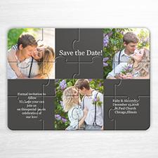 Rompecabezas como invitación que van ha comprometerse, con colage gris tipo galería con 3 fotos