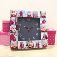 Reloj personalizado con collage de 16 fotografías en color gris