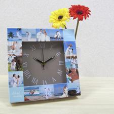 Reloj personalizado con collage de 16 fotografías en color dorado