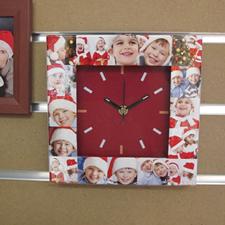 Reloj personalizado con collage de 16 fotografías en rojo