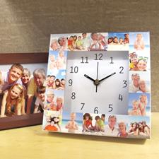 Reloj personalizado grande con collage de 16 fotografías en blanco