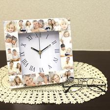 Reloj personalizado con collage de 16 fotografías