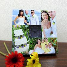 Reloj personalizado grande con collage de 4 fotografías