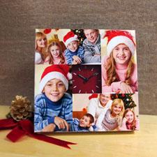 Reloj personalizado con collage de 4 fotografías en rojo