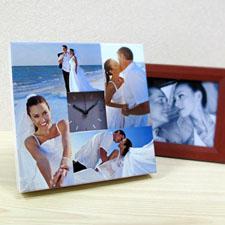 Reloj personalizado con collage de 4 fotografías en gris