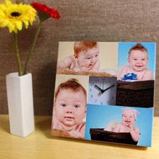 Reloj personalizado grande con collage de 4 fotografías en blanco