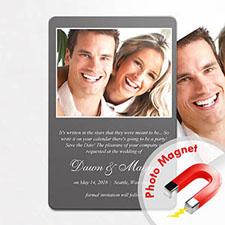 Anuncio de boda gris personalizado Imanes de foto de la nevera