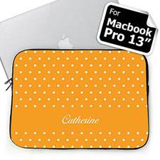 Custom Name Orange Polka Dots Macbook Pro 13 Sleeve (2015)