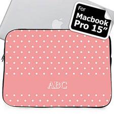 Iniciales personalizadas Lunares rosados Macbook Pro 15 Manga (2015)