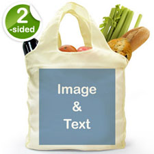 Bolsa de compras doblada por 2 lados, imagen n cuadrada completa.
