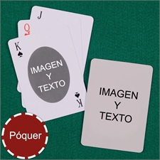 Naipes personalizados tipo póker, ovalados, personalizados de los 2 lados