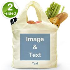 Personalizado de los dos lados doblada bolsa de compras , imágenes cuadradas