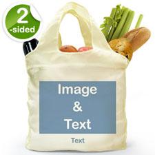 Bolsa de compras personalizada, doblada por delante y por detrás, imagen n a todo color.