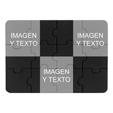 Rompecabezas negro como invitación con colage tipo instagram de 3 fotos