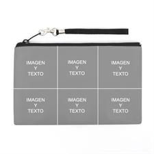 Bolsa de mano personalizada con collage de 6 fotografías (imagen igual de cada lado), 12.7x20.3 cm