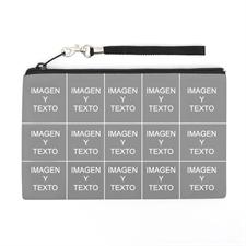 Bolsa de mano personalizada con collage de 18 fotografías (imagen distinta de cada lado), 12.7x20.3 cm