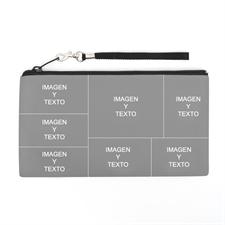 Bolsa de mano personalizada con collage de 7 fotografías (imagen distinta de cada lado), 13.9x25.4 cm