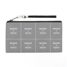 Bolsa de mano personalizada con collage de 8 fotografías (imagen distinta de cada lado), 13.7x25.4 cm