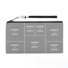 Bolsa de mano personalizada con collage de 7 fotografías (imagen distinta de cada lado), 13.7x25.4 cm