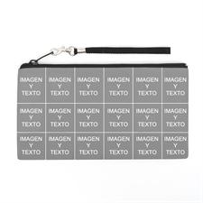 Bolsa de mano personalizada con collage de 18 fotografías (imagen distinta de cada lado), 13.7x25.4 cm