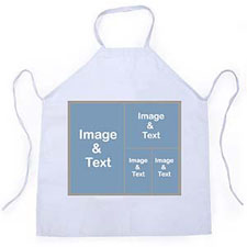Four Collage Silver Grey Personalized Adult Apron