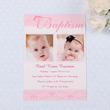 Tarjeta personalizada de Bautizo color rosa con fuentes modernas