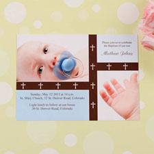 Tarjeta personalizada de bautizo con collage y bandas de cruz separadoras