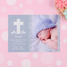 Print Your Own Framed Cross Boy Baptism Photo Invitation Cards