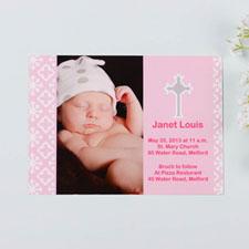 Tarjeta personalizada de Bautizo color rosa