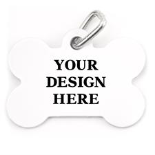 Placa de mascota personalizada por un lado con forma de hueso
