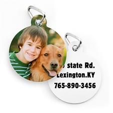 Placa de perro o gato con impresión personalizada y de forma redonda (personalizada por ambas caras)