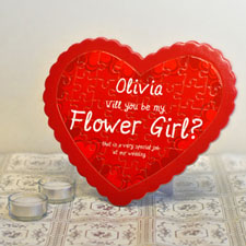 Rompecabezas personalizado en forma de corazón de Flower Girl