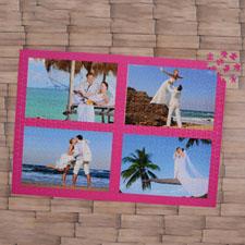 Rompecabezas con colage de color rosado caliente de 4 con 1000 piezas 50.17 cm x 71.12 cm Rompecabezas personalizado