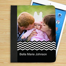 Personalized Black Chevron Personalized Photo Folio Case